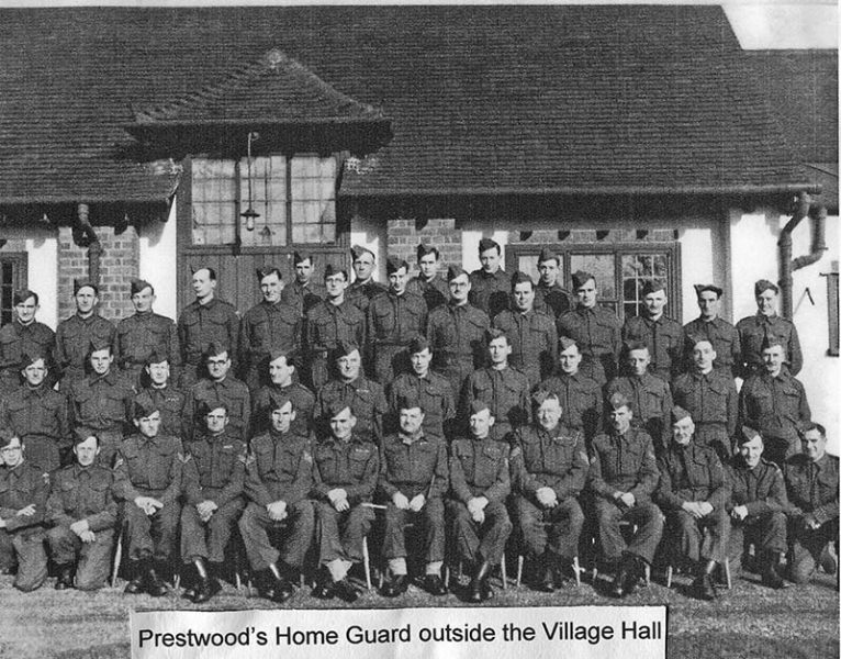 Home Guard outside village Hall
